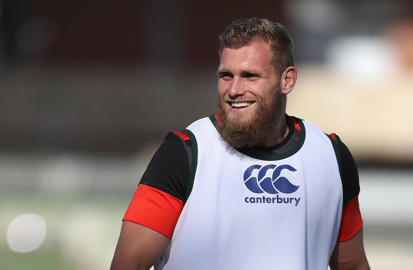 DURBAN, SOUTH AFRICA - JUNE 05:  Brad Shields looks on during the England training session held at Kings Park Stadium on June 5, 2018 in Durban, South Africa.  (Photo by David Rogers/Getty Images)