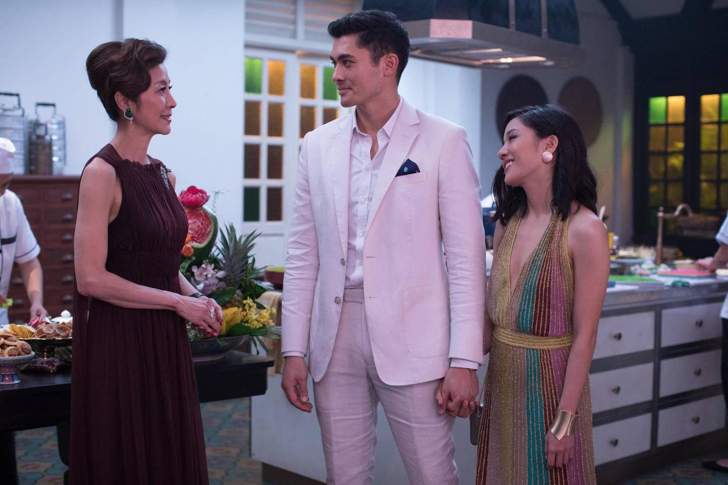 Michelle Yeoh as Eleanor Young, Henry Golding as Nick Young and Constance Wu as Rachel Chu in Crazy Rich Asians. Sanja Bucko / Warner Bros. Pictures