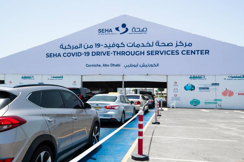 Residents are a big show for PCR and vaccination tests at the  SEHA Covid-19 Drive-Through Service Center at the Corniche in Abu Dhabi on June 17th, 2021.  There is a huge demand for vaccinations and PCRs after the green pass restrictions. Victor Besa / The National.Reporter: Shireena Al Nowais for News