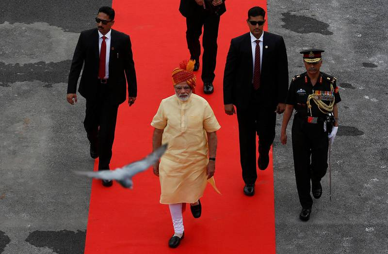 Indian Prime Minister Narendra Modi arrives to address the nation from the historic Red Fort during Independence Day celebrations in Delhi, India August 15, 2017. REUTERS/Adnan Abidi