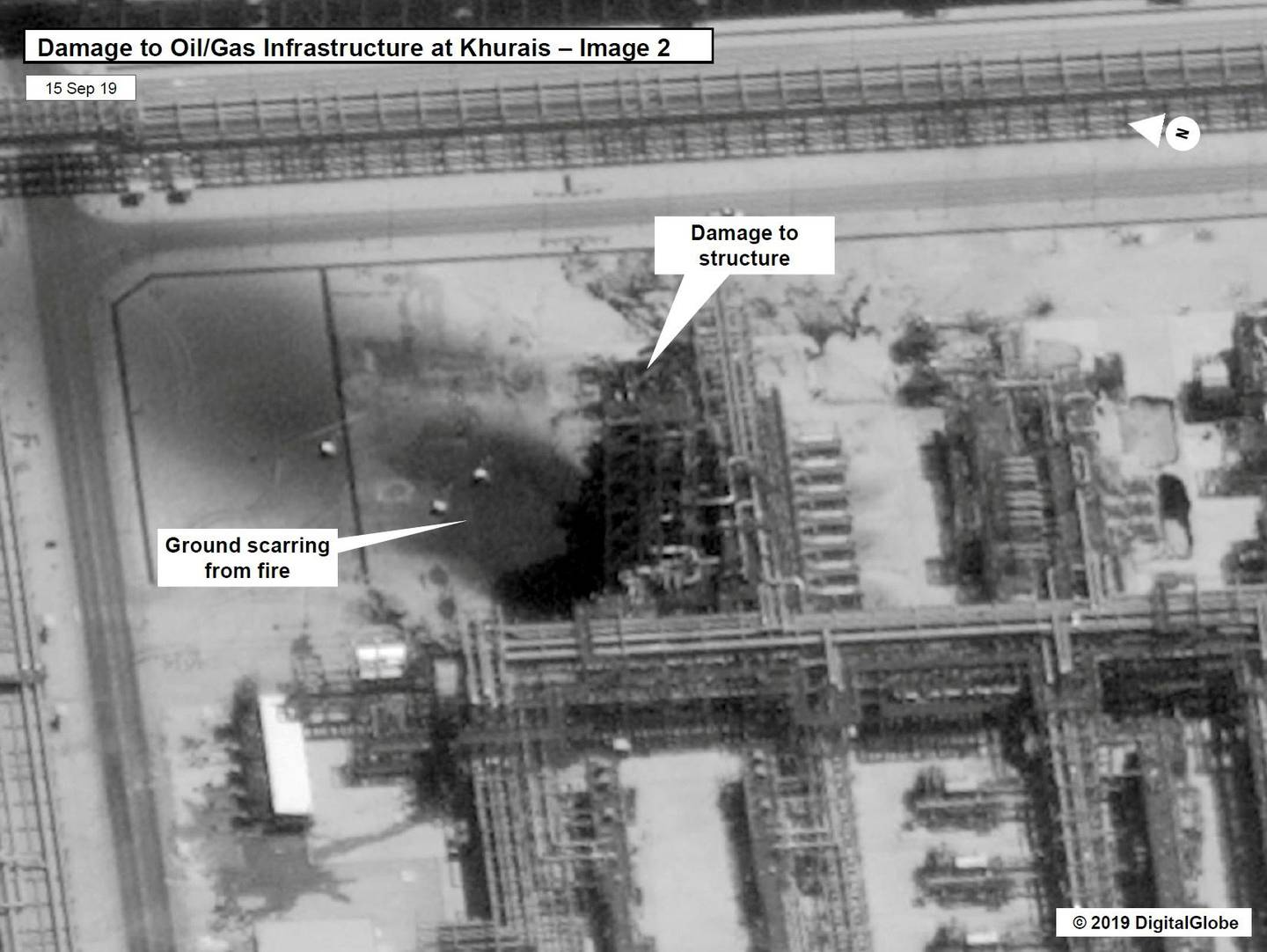 A satellite image showing damage to oil/gas Saudi Aramco infrastructure at Khurais, in Saudi Arabia in this handout picture released by the U.S Government September 15, 2019.  U.S. Government/DigitalGlobe/Handout via REUTERS    THIS IMAGE HAS BEEN SUPPLIED BY A THIRD PARTY. NO RESALES. NO ARCHIVES     TPX IMAGES OF THE DAY