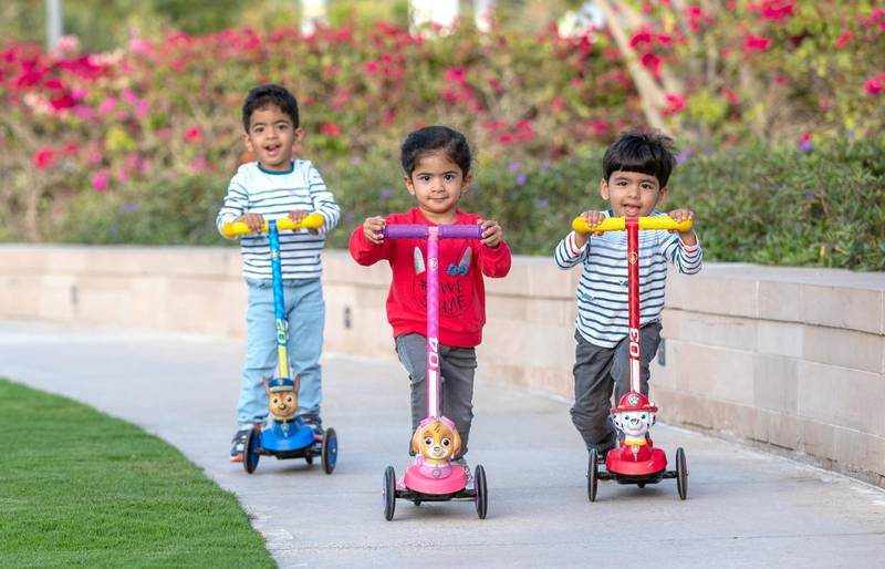Abu Dhabi, United Arab Emirates, March 15, 2021.  Emirati Children's Day at Umm Al Emarat Park.  The Al Dhaheri children go around the park with their scooters.Victor Besa/The NationalSection:  NAFOR:  Stand Alone/ Big Picture