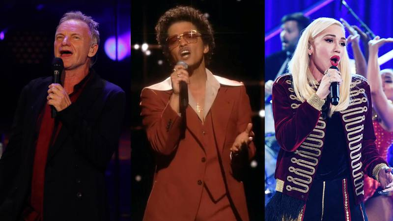 Sting, Bruno Mars and Gwen Stefani. Getty Images, Reuters, AFP