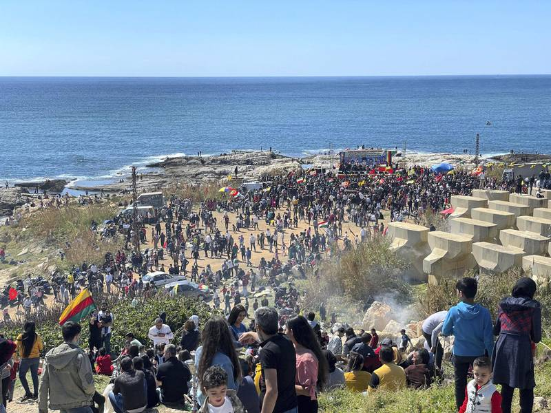 Kurds in Lebanon gather on the Beirut coast to celebrate the spring welcoming a week late following a Covid-19 lockdown. Mahmoud Rida / The National