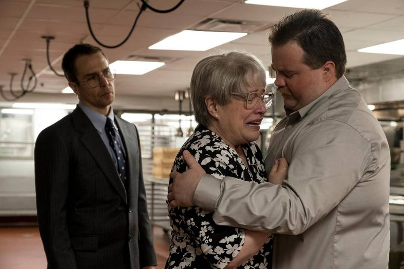 """This image released by Warner Bros. Pictures shows Sam Rockwell, from left, Kathy Bates and Paul Walter Hauser in a scene from """"Richard Jewell."""" (Claire Folger/Warner Bros. Pictures via AP)"""
