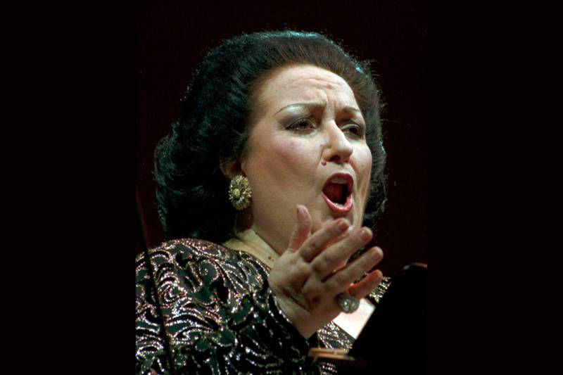 FILE - In this July 13, 1996 file photo, Montserrat Caballe during a concert in Dresden, Germany. Spanish opera diva Montserrat Caballe, renowned for her bel canto technique and her interpretations of the roles of Rossini, Bellini and Donizetti, has died. She was 85. Hospital Sant Pau press officer Abraham del Moral confirmed her passing away early on Saturday Oct. 6, 2018. (AP Photo/Matthias Rietschel, File)