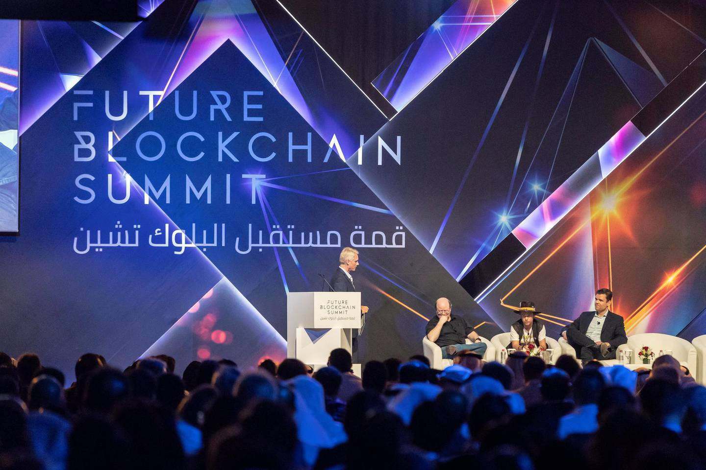 DUBAI, UNITED ARAB EMIRATES. 02 MAY 2018. Future Blockchain Summit held at the Trade Center. Opening remarks. Alex Tapscott, Co-Founder - Blockchain Research Institute, Brock Pierce, Entrepreneur, VC and Philanthropist - Blockchain Foundation, Dr. Larry Sanger, Co-founder - Wikipedia and Ken Rutkowski, Founder -MeTAL, Co-Founder - Business Rockstars and KenRadio Broadcasting - MeTAL. (Photo: Antonie Robertson/The National) Journalist: Sarmad Khan. Section: Business.