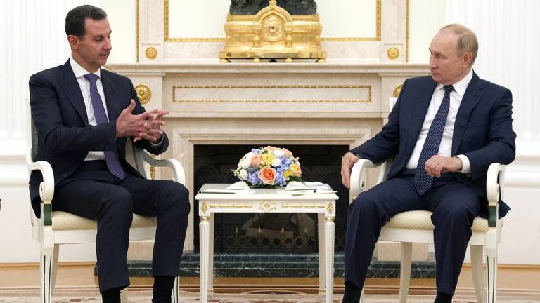 An image that illustrates this article Putin condemns foreign troops in Syria at impromptu Assad meeting