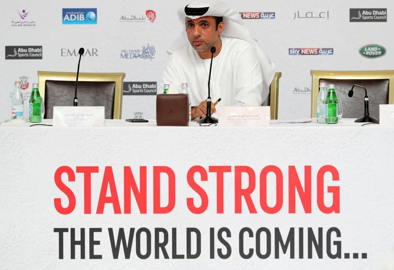 Abu Dhabi, United Arab Emirates - April 15, 2019: Fahad Ali Al Shamsi, chief executive officer of the UAEJJF. The Abu Dhabi World Professional Jiu-Jitsu Championship 2019 press conference. Monday the 15th of April 2019. Corniche Road, Abu Dhabi. Chris Whiteoak / The National