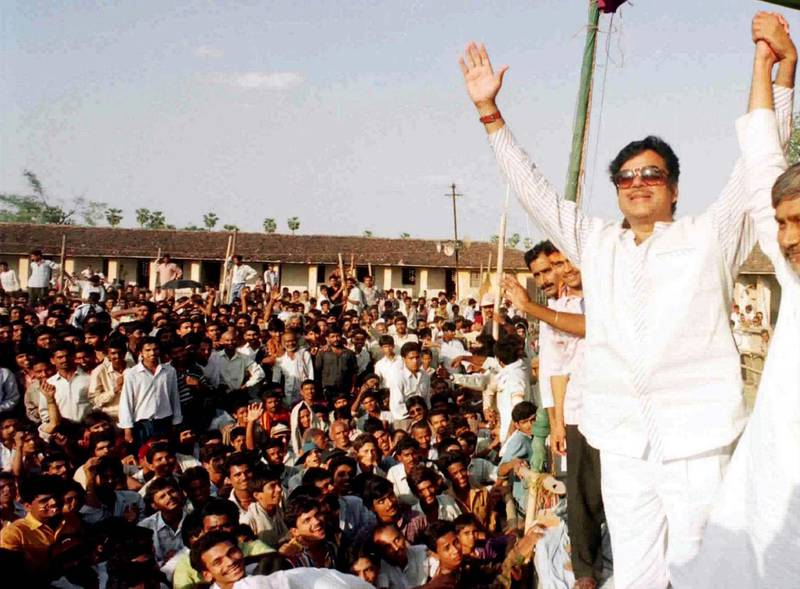 Actor turned-politician Shatrughan Sinha,leader of the Bharatiya Janata Party (BJP), reacts to crowd cheers during an election campaign rally April 30 for the second round of election due on May 2, in town Barh of eastern Indian state Bihar. The BJP is the main challenger of Prime Minister P.V. Narasimha-Rao's Congress Party for the general election