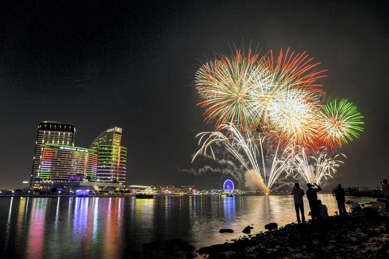 December 2, 2017.  Dubai Festival City  National Day fireworks display shot from the Al Jadadaf side of the Dubai Creek.Victor Besa for The NationalNationalRequested by:  James O'Hara