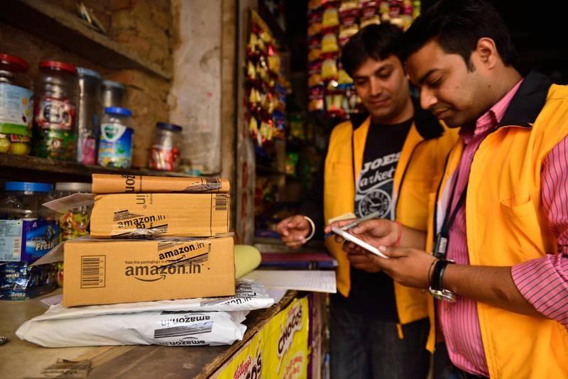 NEW DELHI, INDIA - JUNE 2: Amazon pick up point at Kalkaji on June 2, 2015 in New Delhi, India. (Photo by Pradeep Gaur/Mint via Getty Images)