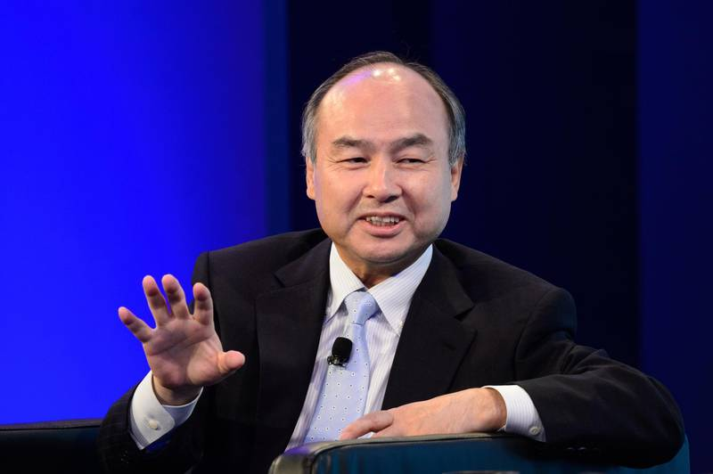 Masayoshi Son, chairman and chief executive officer of SoftBank Group Corp., gestures during the Wall Street Journal CEO Council in Tokyo, Japan, on Tuesday, May 15, 2018. The one-day event brings together the world's leading chief executive officers and policymakers for interviews and speeches. Photographer: Akio Kon/Bloomberg
