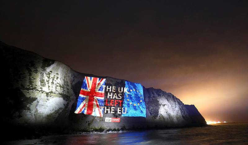 DOVER, ENGLAND - JANUARY 31: *EMBARGOED UNTIL 23:00 ON 31ST JAN**  Sky News marks Brexit day by projecting a farewell message on the white cliffs of Dover on January 31, 2020 in Dover, England. (Photo by Tim P. Whitby/Getty Images for Sky UK)