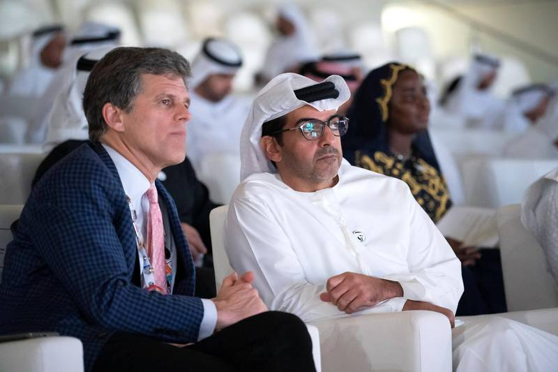 ABU DHABI, UNITED ARAB EMIRATES - March 21, 2019: Timothy Shriver, Chairman of the Special Olympics (L) and HH Sheikh Hamed bin Zayed Al Nahyan, Chairman of the Crown Prince Court of Abu Dhabi and Abu Dhabi Executive Council Member (R), attend the closing ceremony of the Special Olympics World Games Abu Dhabi 2019, at Zayed Sports City.  ( Ryan Carter for the Ministry of Presidential Affairs ) ---