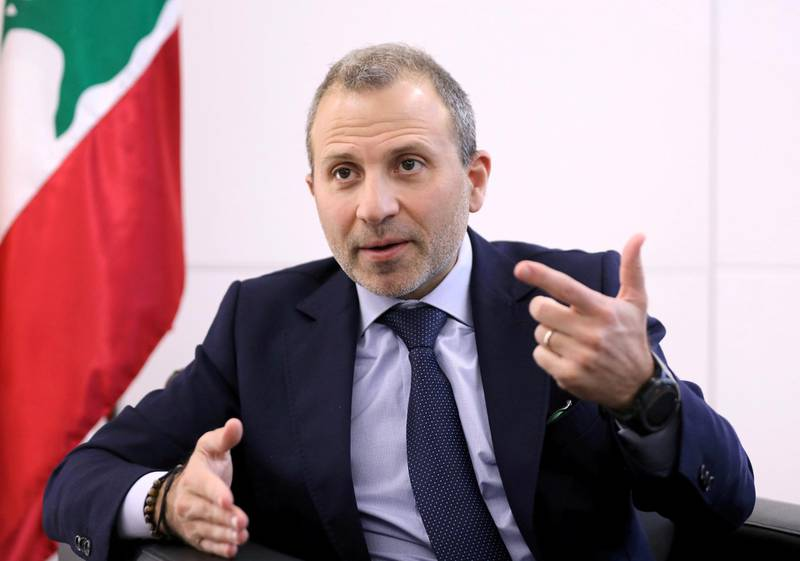 FILE PHOTO: Gebran Bassil, a Lebanese politician and head of the Free Patriotic movement, talks during an interview with Reuters in Sin-el-fil, Lebanon July 7, 2020. REUTERS/Mohamed Azakir/File Photo