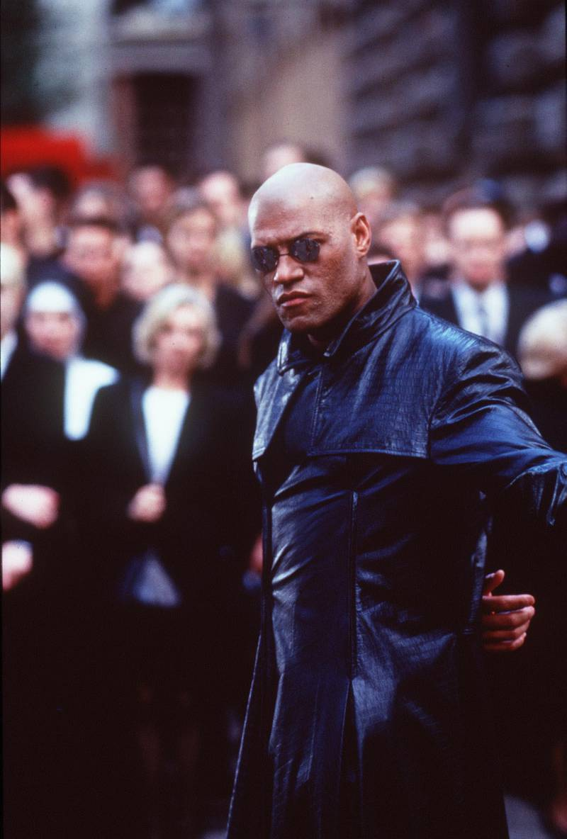 """1999 Laurence Fishburne stars in """"The Matrix."""" 1999 Warner Bros. and Village Roadshow Film. Getty Images"""