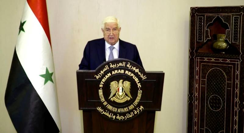 In this image made from UNTV video, Syria's Deputy Prime Minister Walid Muallem speaks in a pre-recorded message which was played during the 75th session of the United Nations General Assembly, Saturday, Sept. 26, 2020, at U.N. headquarters. (UNTV via AP)