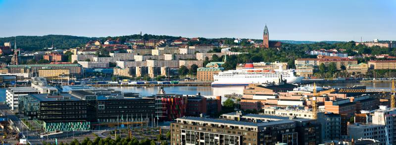 28 Jun 2011, Gothenburg, Sweden --- Panoramic shot of the north and south shore against blue sky at Gothenburg, Sweden --- Image by © Björn Andrén/Matton Collection/Corbis