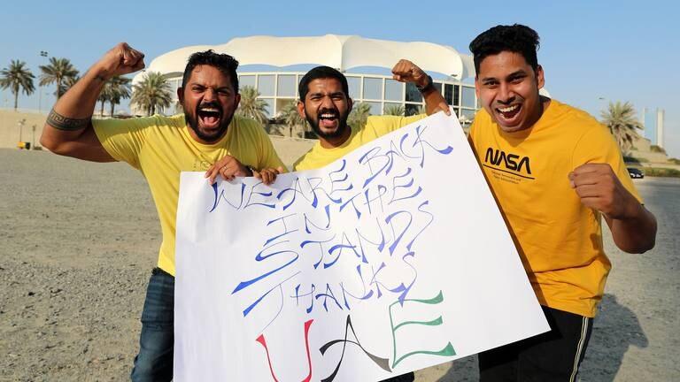 An image that illustrates this article Fans pour in for IPL 2021 restart as Chennai take on Mumbai in Dubai