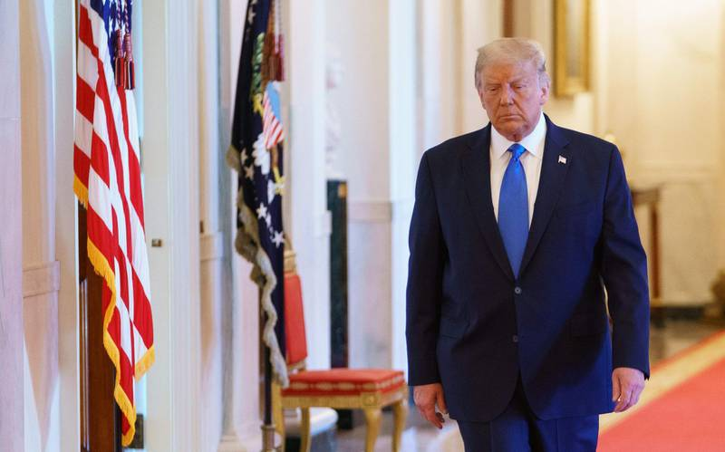 US President Donald Trump arrives for an event honoring Bay of Pigs veterans in the East Room of the White House in Washington, DC on September 23, 2020. / AFP / MANDEL NGAN