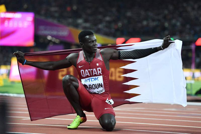 (FILES) In this file photo taken on August 08, 2017 Qatar's Abdalelah Haroun reacts after coming third in the final of the men's 400m athletics event at the 2017 IAAF World Championships at the London Stadium in London. Qatari 400m World Championships bronz medalist runner Abdalelah Haroun has died today at the age of 24, the Qatar Olympic Committee announced. / AFP / Jewel SAMAD