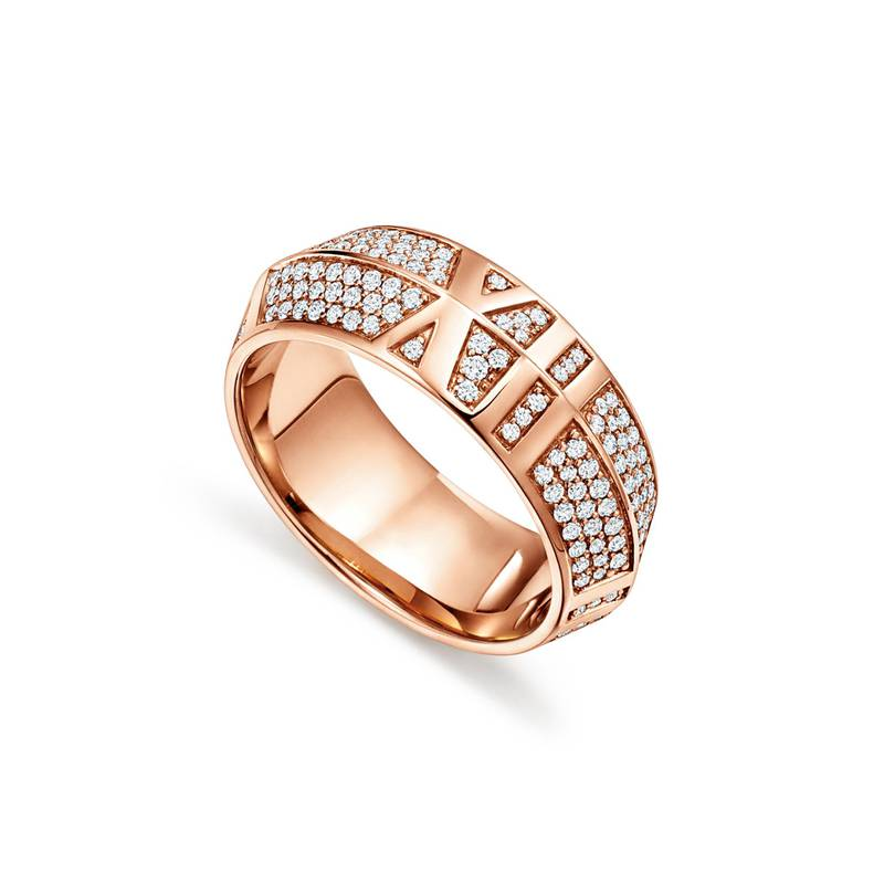 Atlas X closed wide ring in 18k rose gold with pavé diamonds_ �7,000, Tiffany & Co