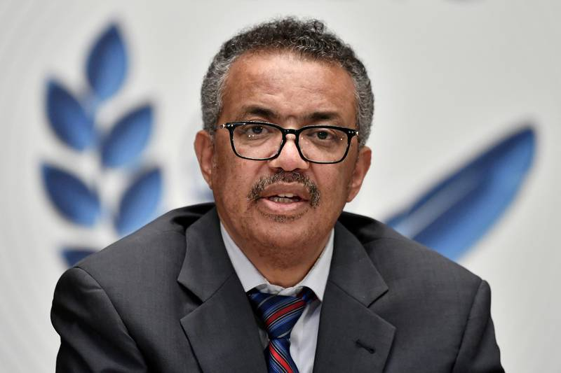 FILE PHOTO: World Health Organization (WHO) Director-General Tedros Adhanom Ghebreyesus attends a news conference organized by Geneva Association of United Nations Correspondents (ACANU) amid the COVID-19 outbreak, caused by the novel coronavirus, at the WHO headquarters in Geneva Switzerland July 3, 2020. Fabrice Coffrini/Pool via REUTERS/File Photo