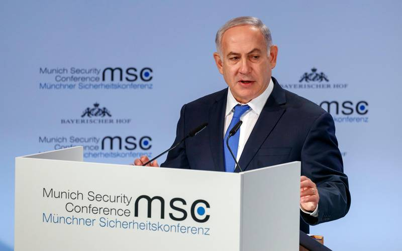 epa06538811 Benjamin Netanyahu, Prime Minister of Israel, speaks during the 54th Munich Security Conference (MSC), in Munich, Germany, 18 February 2018. In their annual meeting, politicians and various experts and guests from around the world discuss issues surrounding global security from February 16 to 18.  EPA/RONALD WITTEK