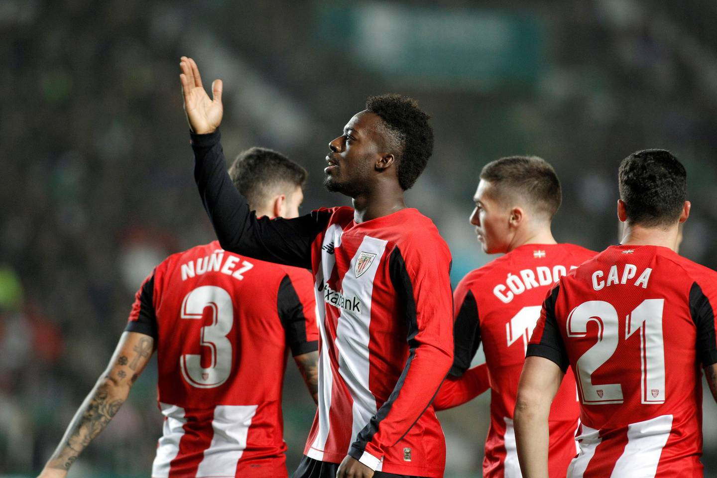 epa08151793 Ahtletic Club Bilbao's Spanish striker Inaki Williams (2-L) celebrates after scoring the 0-1 during their the King's Cup round of 32 soccer match between Elche CF and Athletic Club Bilbao at Manuel Martinez Valero stadium in Elche, Spain, 22 January 2020.  EPA/Morell