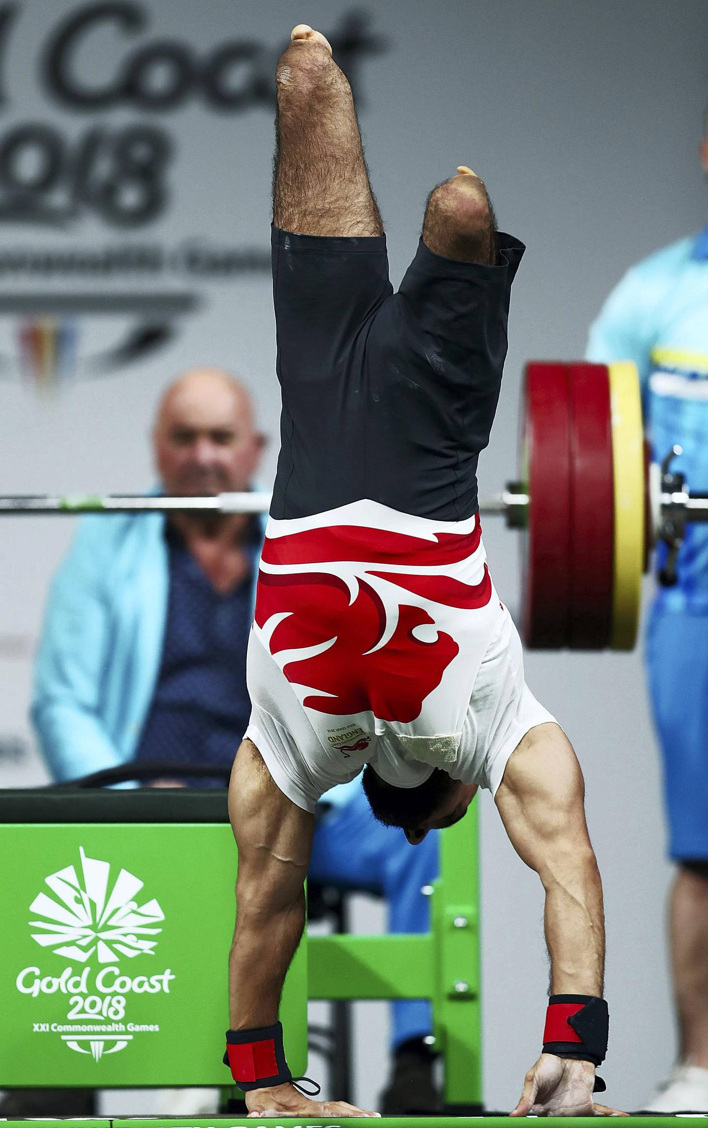 GOLD COAST, AUSTRALIA - APRIL 10:  Ali Jawad of England celebrates a lift in the Men's Lightweight Final during the Para Powerlifting on day six of the Gold Coast 2018 Commonwealth Games at Carrara Sports and Leisure Centre on April 10, 2018 on the Gold Coast, Australia.  (Photo by Mark Metcalfe/Getty Images)