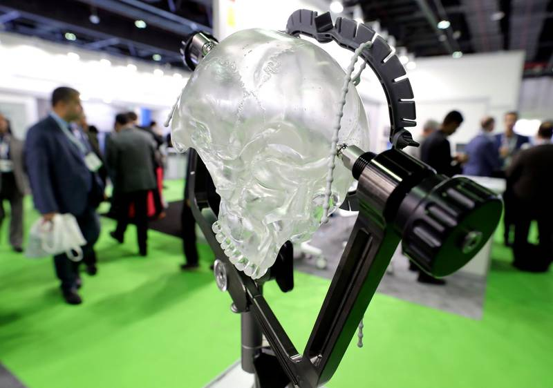 Dubai, United Arab Emirates - Reporter: Dan Sanderson: Mayfield head rest system used to brace a head while brain surgery is conducted. Thousands of people gather for the Arab Health conference. Monday, January 27th, 2020. World trade centre, Dubai. Chris Whiteoak / The National
