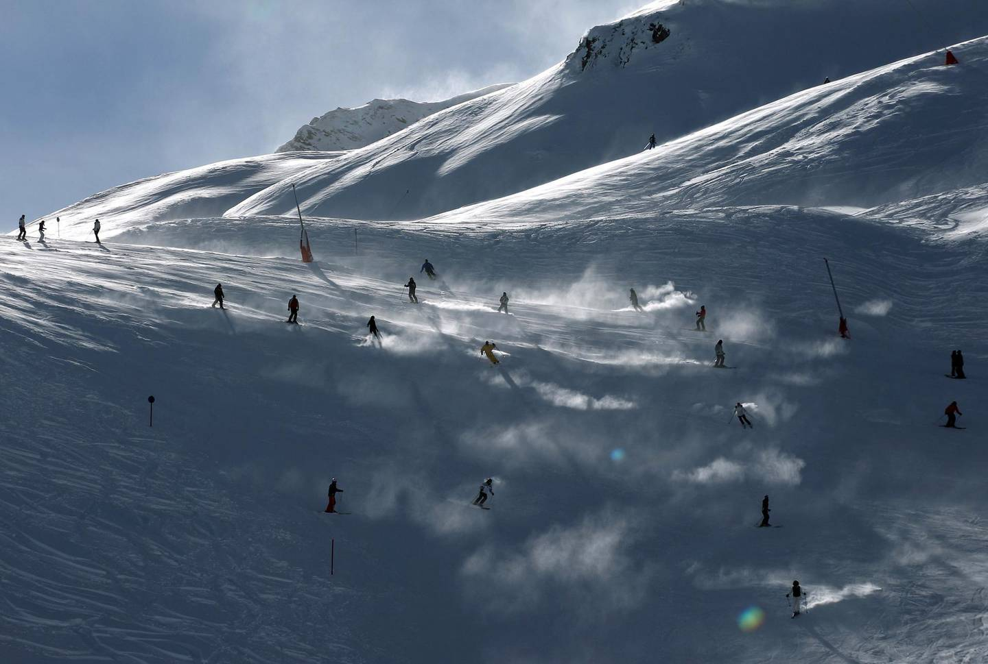 ISCHGL, AUSTRIA - NOVEMBER 27: Skiers are pictured during the winter season opening on November 27, 2010 in Ischgl, Austria. Ischgl has more then 230 kilometers of ski slopes and is one of Austria's biggest mountain resorts. (Photo by Miguel Villagran/Getty Images)
