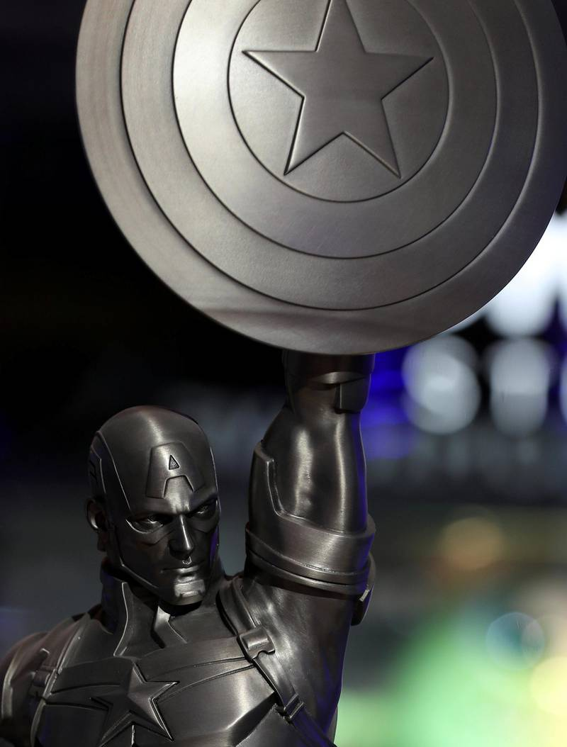 Dubai, United Arab Emirates - May 26, 2019: Photo Project. Captain America statue a replica of one in Brooklyn. Comicave is the WorldÕs largest pop culture superstore involved in the retail and distribution of high-end collectibles, pop-culture merchandise, apparels, novelty items, and likes. Thursday the 30th of May 2019. Dubai Outlet Mall, Dubai. Chris Whiteoak / The National