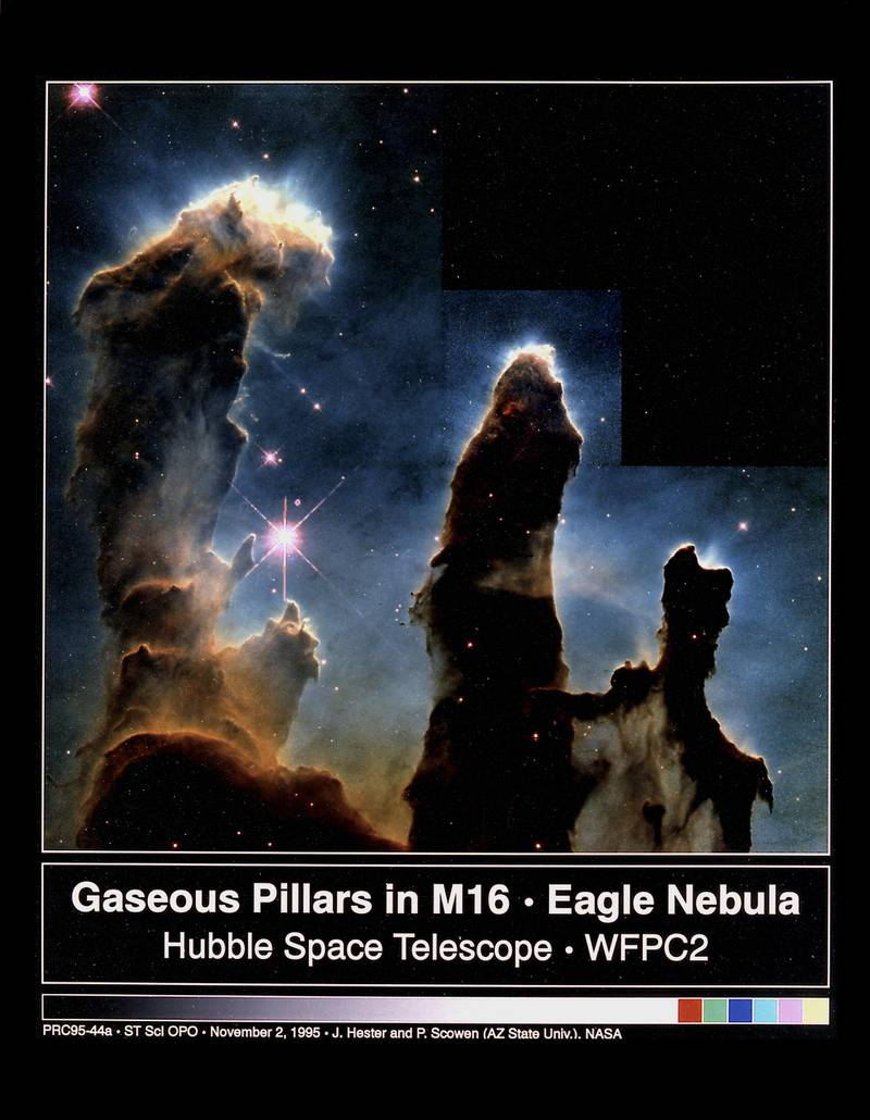 These eerie, dark, pillar-like structures are actually columns of cool interstellar hydrogen gas and dust that are also incubators for new stars. The pillars protrude from the interior wall of a dark molecular cloud like stalagmites from the floor of a cavern. They are part of the Eagle Nebula (also called M16), a nearby star-forming region 7,000 light-years away, in the constellation Serpens. NASA