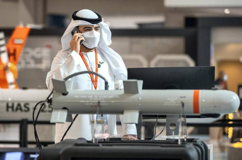 Abu Dhabi, United Arab Emirates, February 23, 2021.  Idex 2021 Day 3.Visitors at the exhibition.Victor Besa / The NationalSection:  NAReporter: