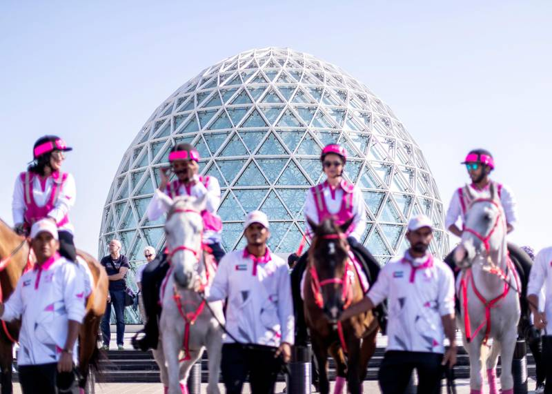 ABU DHABI, UNITED ARAB EMIRATES 5 MARCH 2020.Pink Caravan riders at Sheikh Zayed Grand Mosque in Abu Dhabi.With 64,012 free medical screenings, support of 795 medical clinics, and over 300,000 volunteering hours since its inception in 2011, Pink Caravan — an initiative dedicated to raising awareness for early detection of cancer, rides resolutely into its 10th year, combining its educational messaging with action in the form of free health screen checks for both women and men.(Photo: Reem Mohammed/The National)Reporter:Section:
