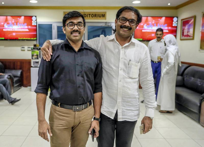 Abu Dhabi, April 15, 2019.  Indians plan to go home to vote in the elections. A group will be meeting on Sunday night to discuss block bookings and arrange cheap flights home ahead of the second phase of voting on April 23.-- (Left) Shukoor Ali and friend Ashraf Ponnani at the Indian Islamic Centre, Abu Dhabi.Victor Besa/The National.Section:  NA Reporter:  Shireena Al Nuwais