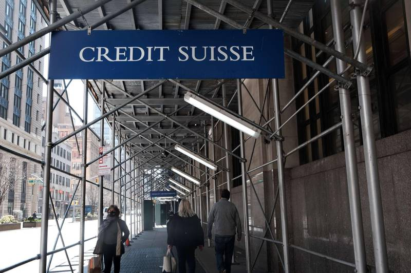 NEW YORK, NEW YORK - MARCH 29: A Credit Suisse sign hangs outside of it's Manhattan offices on March 29, 2021 in New York City. Major global banks, including Credit Suisse, are preparing to be hit with billions of dollars in losses after after the US hedge fund Archegos Capital defaulted on margin calls last week.   Spencer Platt/Getty Images/AFP == FOR NEWSPAPERS, INTERNET, TELCOS & TELEVISION USE ONLY ==