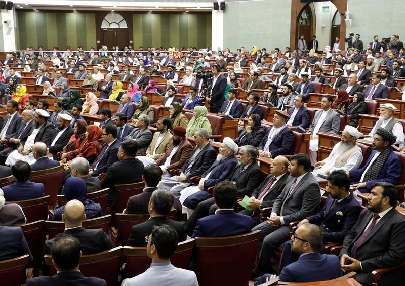 Members of the Afghan parliament attend the inauguration of the newly-elected parliament in Kabul, Afghanistan April 26, 2019. REUTERS/Omar Sobhani