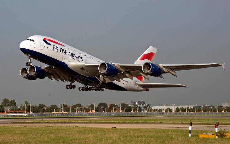 A British Airways Airbus A380 makes its maiden commercial flight, departing on the southern runway at Heathrow Airport heading west, destination Los Angeles. picture David Dyson / Courtesy British Airways *** Local Caption ***  A380 - inaugural flight to LAX.jpg