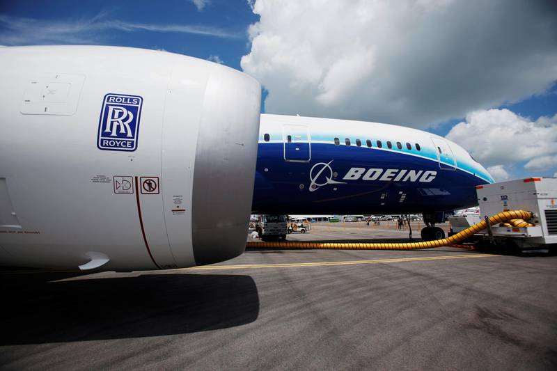 FILE PHOTO: A view of one of two Rolls Royce Trent 1000 engines on a Boeing 787 Dreamliner during a media tour ahead of the Singapore Airshow on February 12, 2012.   REUTERS/Edgar Su/File Photo