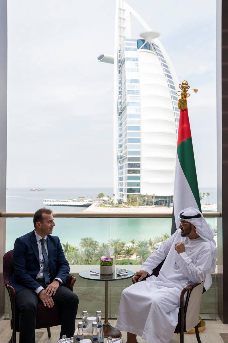 JUMEIRAH, DUBAI, UNITED ARAB EMIRATES - February 10, 2019: HH Sheikh Mohamed bin Zayed Al Nahyan Crown Prince of Abu Dhabi Deputy Supreme Commander of the UAE Armed Forces (R), meets with Guillaume Faury, President of Airbus's commercial aircraft business (L), during the 2019 World Government Summit.  ( Ryan Carter for the Ministry of Presidential Affairs ) ---