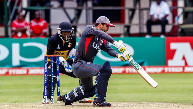 UAE captain Rohan Mustafa plays a shot during his innings of 95 that helped his side defeat Papua New Guinea in their opening game at the World Cup Qualifier. Image courtesy of ICC.