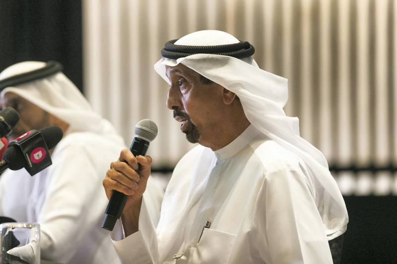 DUBAI, UNITED ARAB EMIRATES - JUNE 25, 2018. Dr Hamad Al Shaikh Ahmad Al Shaibani, Managing Director of the International Institute of Tolerance, and Chairman of the Higher Committee of World Tolerance Summit, at the press conference for the World Tolerance Summit 2018.(Photo by Reem Mohammed/The National)Reporter: Nawal Al RamahiSection: NA