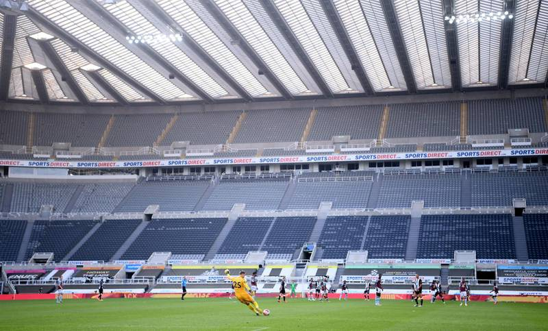 File photo dated 24-06-2020 of Aston Villa goalkeeper Orjan Nyland takes a goal kick during the Premier League match at St James' Park, Newcastle. PA Photo. Issue date: Thursday August 27, 2020. The coronavirus pandemic ravaged the 2019-20 season, forcing a three-month break in the spring. See PA story SOCCER Premier League Overview. Photo credit should read Laurence Griffiths/NMC Pool W/PA Wire.