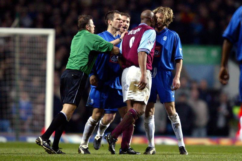 Aston Villa's Dion Dublin headbutts Birmingham City's Robbie Savage which results in Dion Dublin being sent off  (Photo by Mike Egerton/EMPICS via Getty Images)