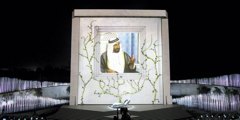 ABU DHABI, UNITED ARAB EMIRATES - February 26, 2018: A video of HH Sheikh Zayed bin Sultan bin Zayed Al Nahyan, President of the United Arab Emirates, is played during the inauguration of The Founder's Memorial.   ( Ryan Carter for the Crown Prince Court - Abu Dhabi ) ---