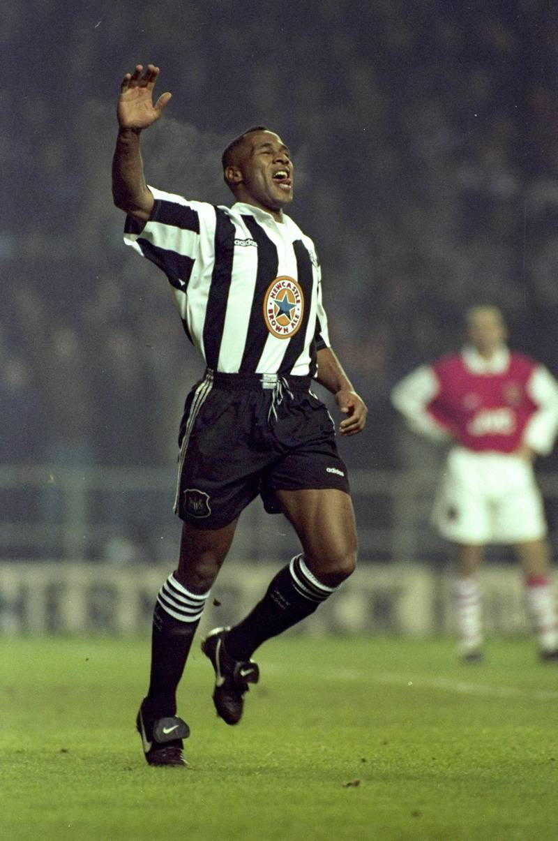 4 Jan 1996:  Les Ferdinand of Newcastle United celebrates during an FA Carling Premiership match against Arsenal at St James'' Park in Newcastle, England. Newcastle won the match 2-0. \ Mandatory Credit: Michael  Cooper/Allsport