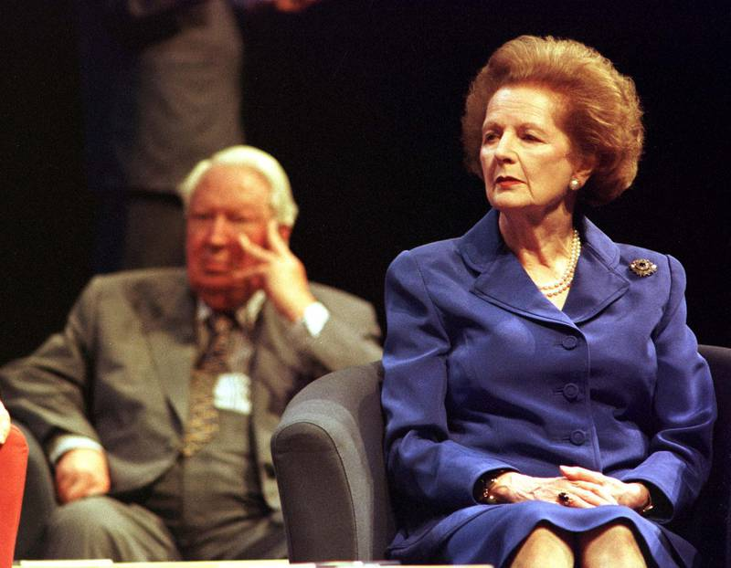 Former Conservative Prime Ministers Sir Edward Heath and Baroness Thatcher listen to the debate at the Conservative Party Conference annual conference in Bournemouth. 24/10/00: Heath announced that he is to retire from Parliament at the next general election.  * after more than 50 years as an MP. As the Father of the House - its longest serving Member - Sir Edward conducted, the arduous procedure to elect the new Speaker. Despite his age, Sir Edward is a regular attender at the Commons, an occasional speaker - always without notes and invariably witty - and never misses an opportunity to proclaim his pro-European views.   *25/10/00 Sir Edward Heath will be remembered as the one-term Prime Minister who found it hard to forgive Margaret Thatcher for ousting him from the Tory leadership. But his crowning achievement, taking Britain into the Common Market, is likely to provide the longer lasting legacy. The bitterness over his loss of the leadership was deep, reflected in almost ceaseless and sometimes savage attacks on her policies while she was in power.   (Photo by Stefan Rousseau - PA Images/PA Images via Getty Images)